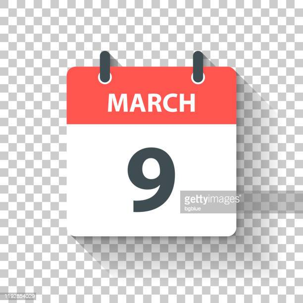 march 9 - daily calendar icon in flat design style - number 9 stock illustrations