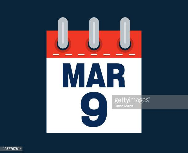 march 9th calendar date of the month - number 9 stock illustrations