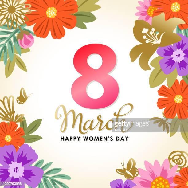 stockillustraties, clipart, cartoons en iconen met 8 maart bloeiende bloemen - internationale vrouwendag