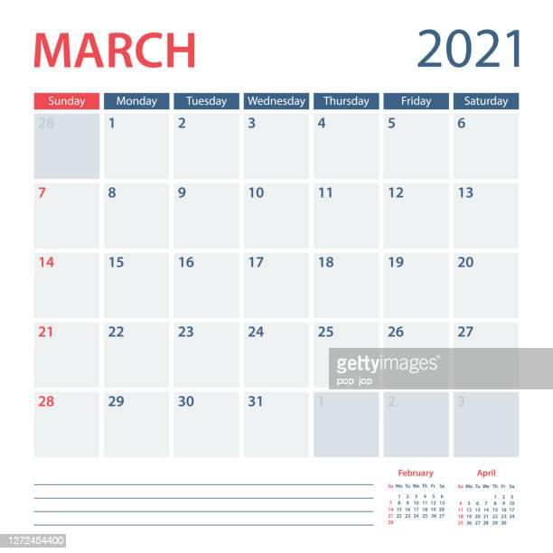 2021 3月カレンダープランナーベクトルテンプレート。週は日曜日に始まる - 三月点のイラスト素材/クリップアート素材/マンガ素材/アイコン素材