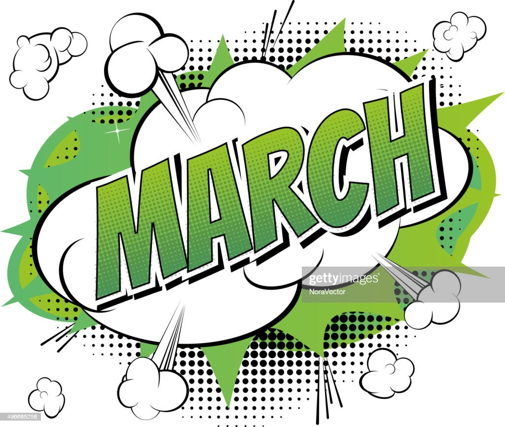 March - Comic book style word.