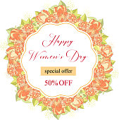8 March. Floral Greeting card. International Happy Women s Day. Trendy Design Template. Vector illustration
