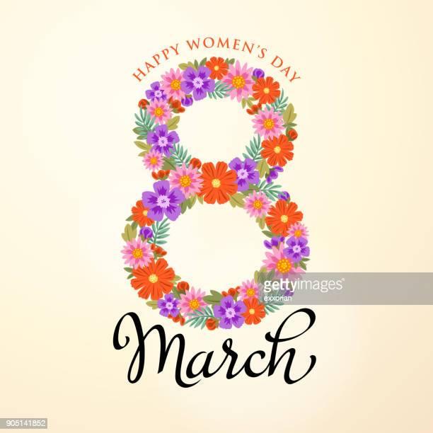 stockillustraties, clipart, cartoons en iconen met 8 maart-bloemen - internationale vrouwendag