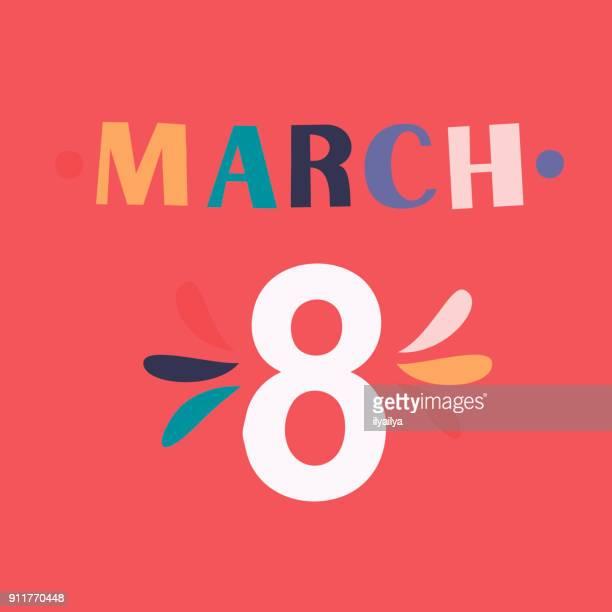 ilustraciones, imágenes clip art, dibujos animados e iconos de stock de 8 de marzo de diseño retro tarjeta de felicitación - feliz dia de la mujer