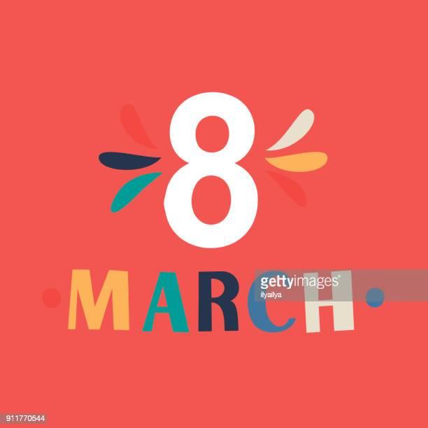 stockillustraties, clipart, cartoons en iconen met 8 maart wenskaart scandinavisch design - internationale vrouwendag