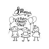 8 march. Happy Women Day. Linear girls