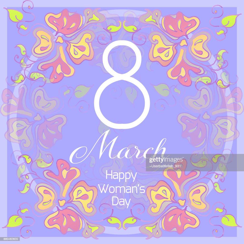 Liebenswert Welche Blumen Blühen Im März Referenz Von März. Glückliche Frauen-tageskarte Mit Abstrakten Blumen. Frühlingsferien.