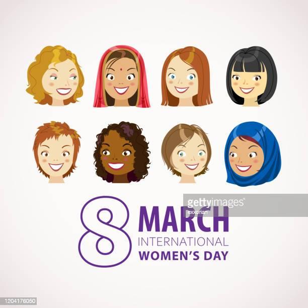 8 march international women's day - ethnicity stock illustrations