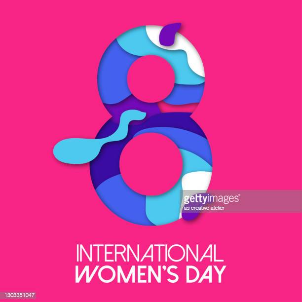 8 march papercut illustration for international women's day card. vector paper cut number eight with pink background. trendy modern women's day greeting card template. - number 8 stock illustrations