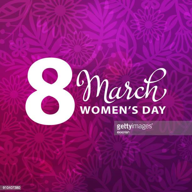 8 march purple floral background - international womens day stock illustrations