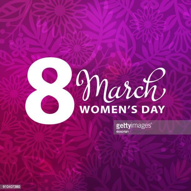 stockillustraties, clipart, cartoons en iconen met 8 maart paarse bloemen achtergrond - internationale vrouwendag