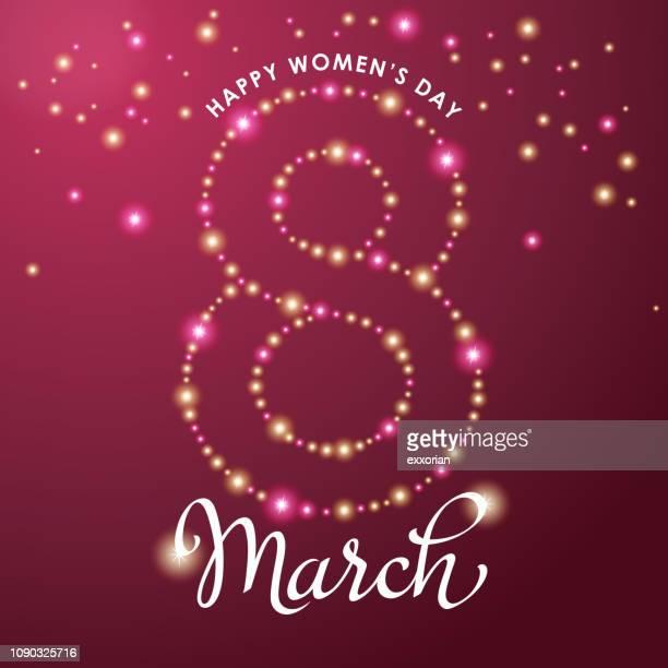 stockillustraties, clipart, cartoons en iconen met 8 maart sparkle lichten - internationale vrouwendag