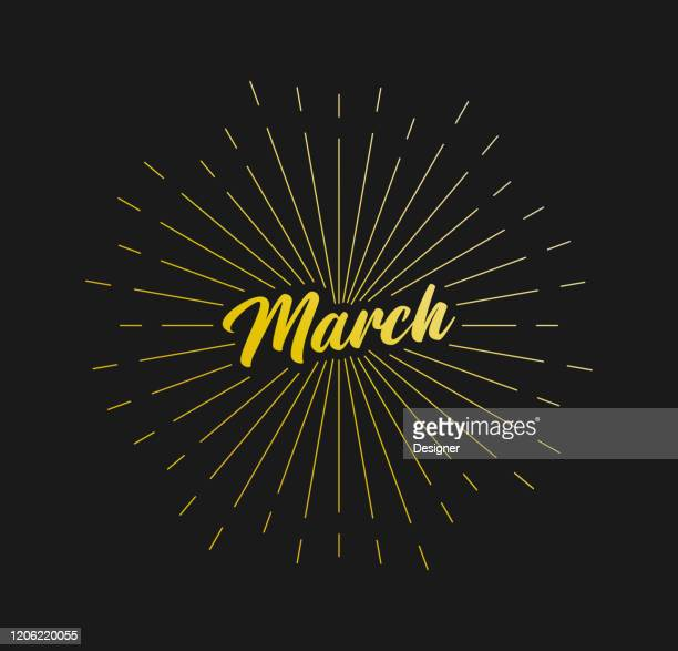 march. sunburst line rays. for greeting card, poster and web banner. vector illustration, design template. - march month stock illustrations