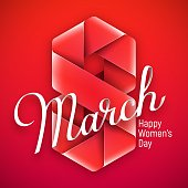 8 March. Vector greeting card for International Women's Day.