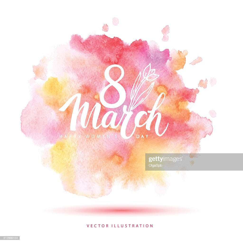 8 March vector watercolor card.