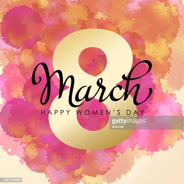 8 march watercolor for women's day - international womens day stock illustrations