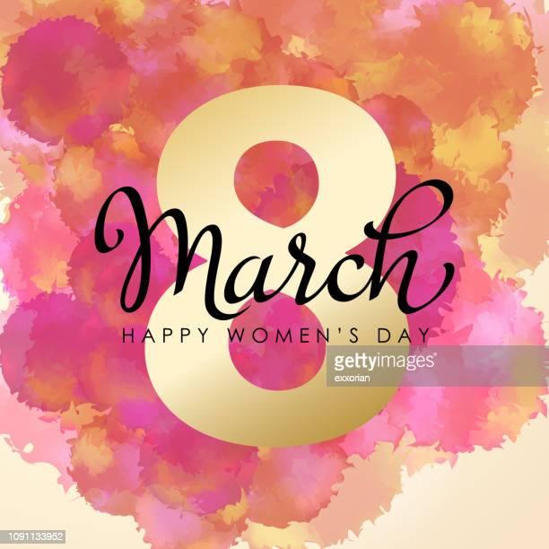stockillustraties, clipart, cartoons en iconen met 8 maart aquarel voor dag van de vrouw - internationale vrouwendag