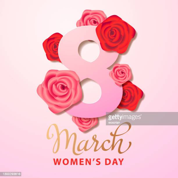 8 march with roses - international womens day stock illustrations