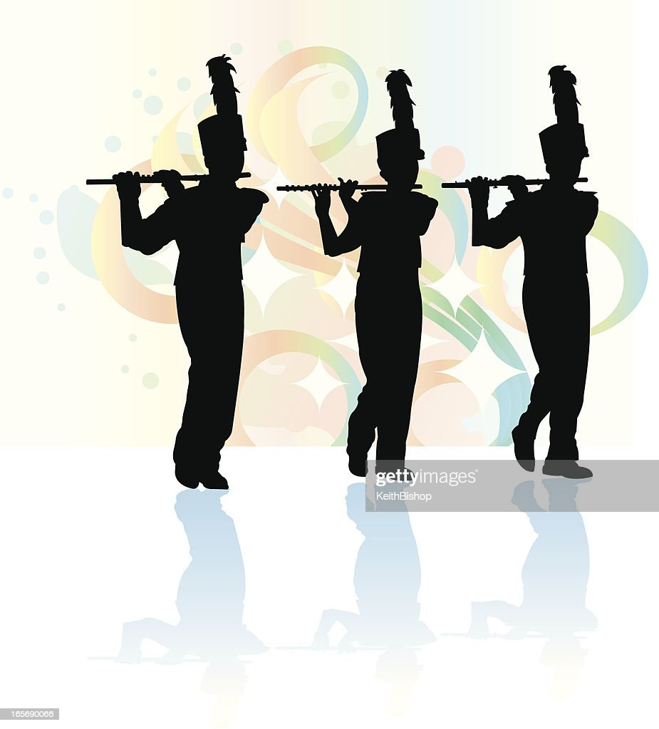 Marching Band Flute Flutist Silhouette Background Vector ...
