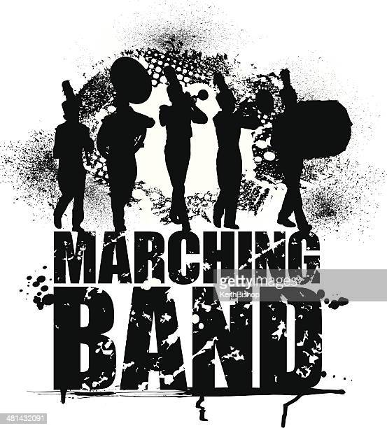 marching band - grunge graphic background - drum percussion instrument stock illustrations, clip art, cartoons, & icons
