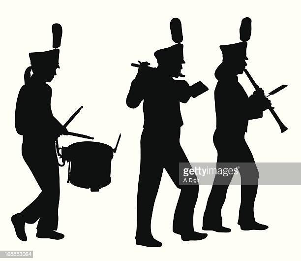 marching band musicians vector silhouette - parade stock illustrations, clip art, cartoons, & icons