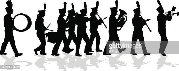 marching band silhouette full lineup - snare drum stock illustrations, clip art, cartoons, & icons