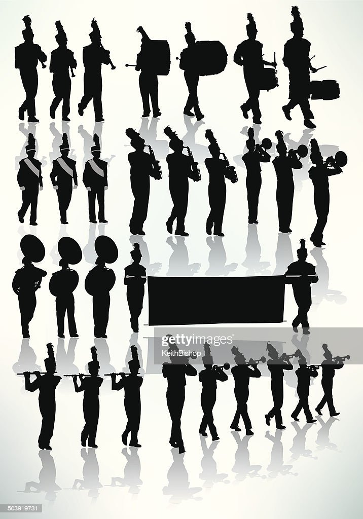 Marching Band Silhouette Vector Art