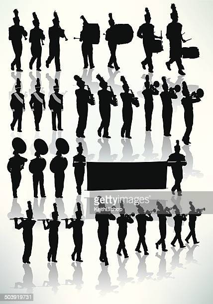 marching band - silhouette - parade stock illustrations