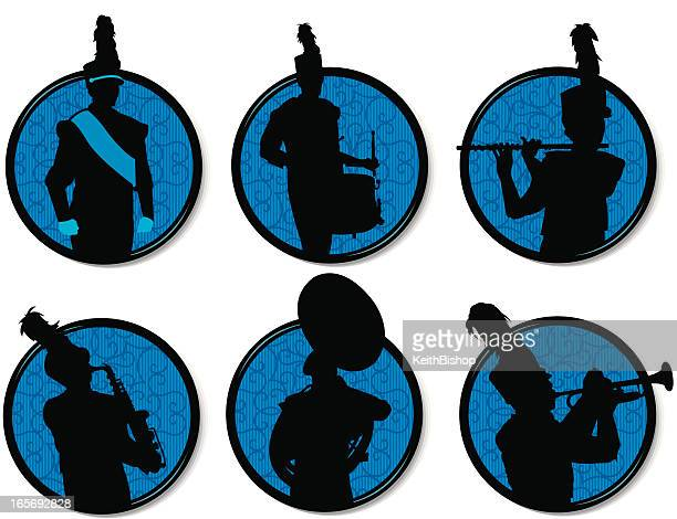 marching band silhouettes buttons - drum percussion instrument stock illustrations, clip art, cartoons, & icons