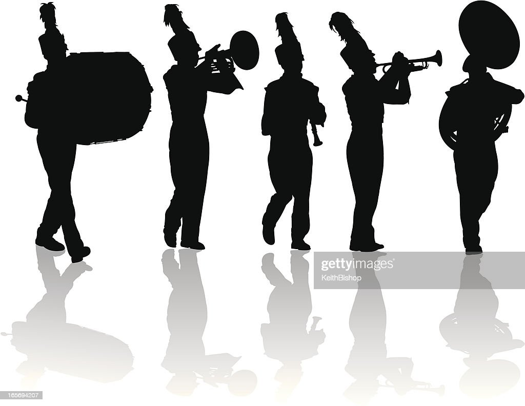 Marching Band Silhouettes Trumpet Drum Flute Mellophone ...