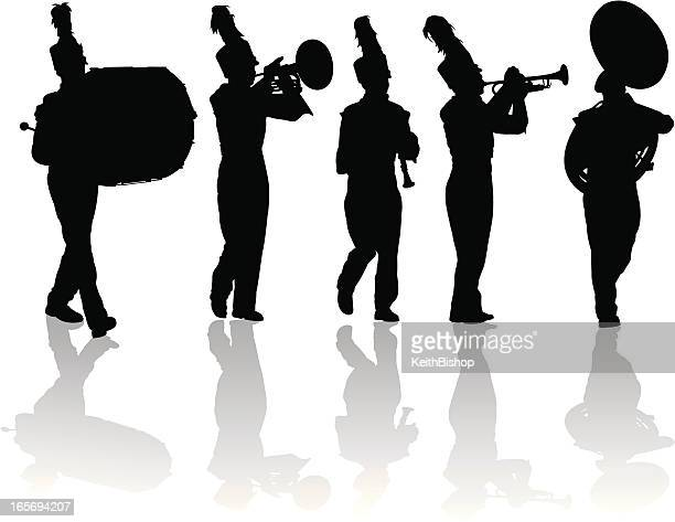 marching band silhouettes trumpet, drum, flute, mellophone - parade stock illustrations, clip art, cartoons, & icons