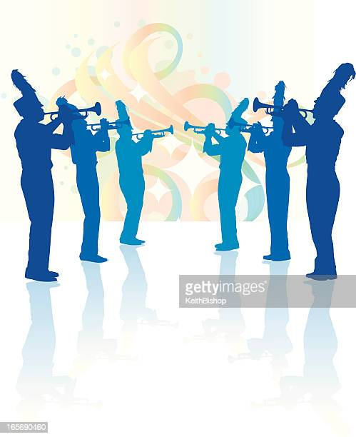 marching band trumpet line background - parade stock illustrations, clip art, cartoons, & icons
