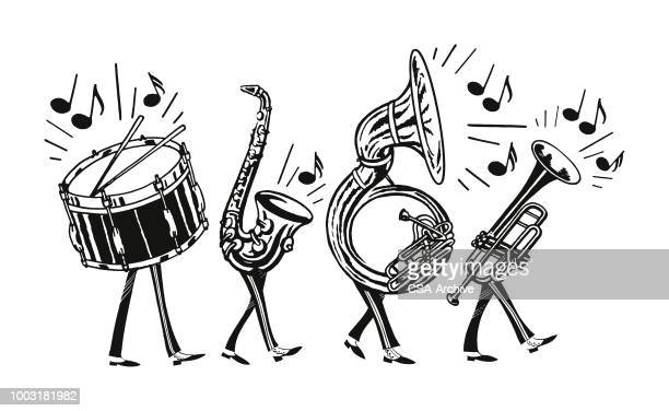 marching band - musical instrument stock illustrations, clip art, cartoons, & icons