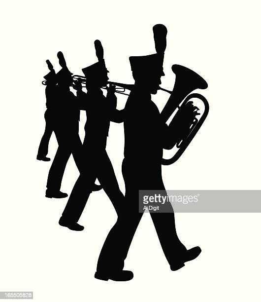 marching band vector silhouette - parade stock illustrations, clip art, cartoons, & icons