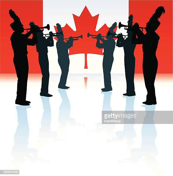 marching band with canadian flag - canadian flag stock illustrations