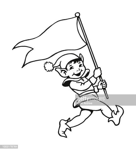 marching elf with flag - gnome stock illustrations