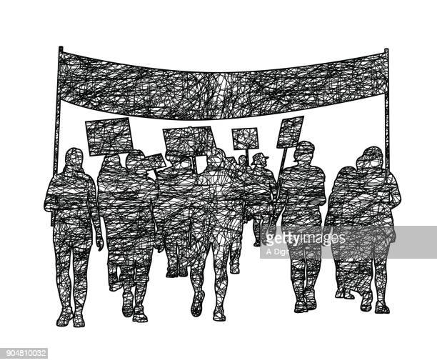 marching protest mob - labor union stock illustrations