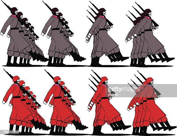 marching soldiers - infantry stock illustrations