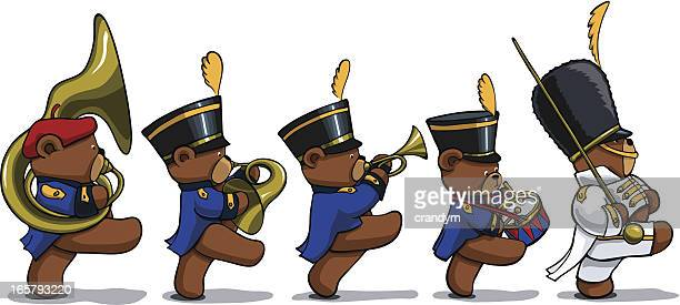 marching teddy bears - snare drum stock illustrations, clip art, cartoons, & icons
