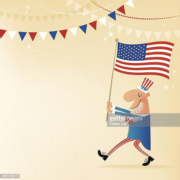 marching uncle sam - parade stock illustrations, clip art, cartoons, & icons