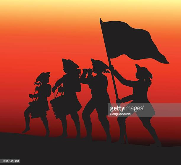marching with drums, fife and flag. - colonial style stock illustrations