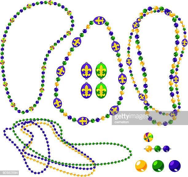 mardi gras bead pack - bead stock illustrations