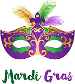 Mardi Gras card with carnival mask