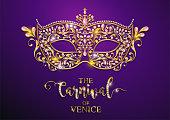 Mardi gras carnaval golden mask patterned and crystals on paper color.