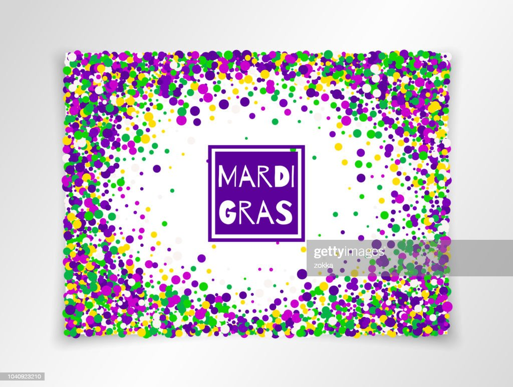 Mardi Gras Carnival background in bright colors. Vector illustration. All isolated and layered