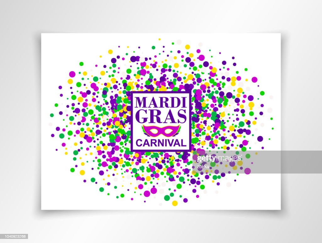 Mardi Gras Carnival background in bright colors with masquerade mask. Vector illustration. All isolated and layered