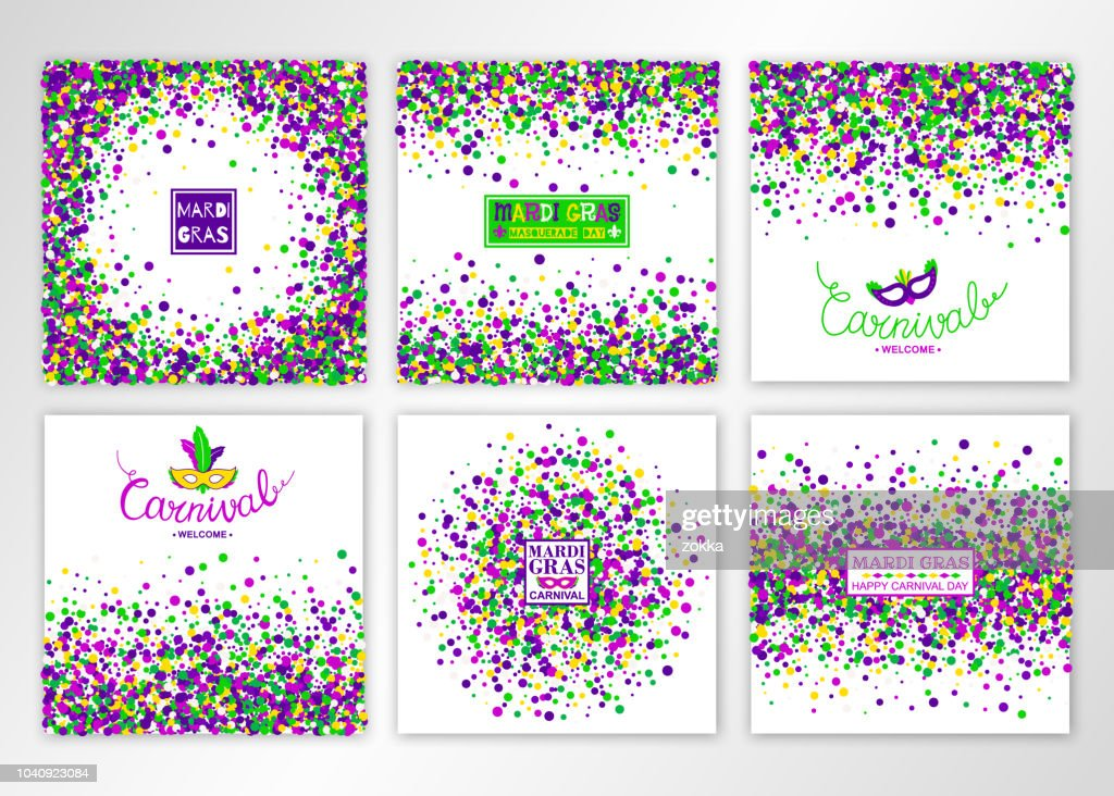 Mardi Gras Carnival background Set. Concept design kit in bright colors with masquerade mask. Vector illustration.