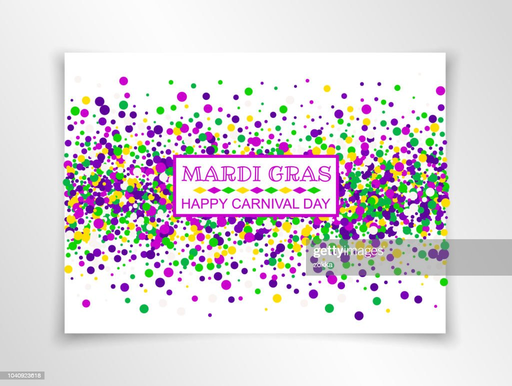 Mardi Gras Carnival banner in bright colors. Vector illustration. All isolated and layered