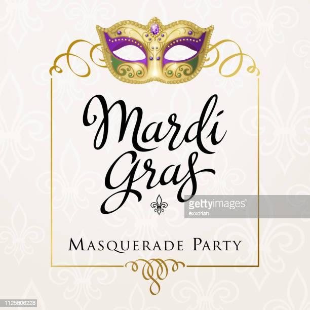 bildbanksillustrationer, clip art samt tecknat material och ikoner med mardi gras carnival ram - gras