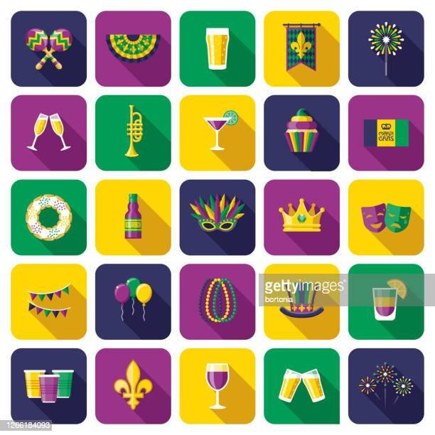 illustrations, cliparts, dessins animés et icônes de ensemble d'icônes du carnaval de mardi gras - galette des rois